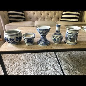 5 lot blue and white candle holder vase plantar